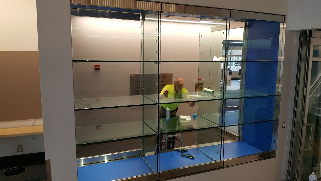 Collegiate glass trophy case