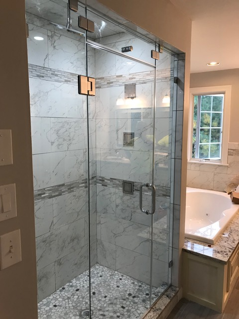 Glass Shower Doors with steam vent