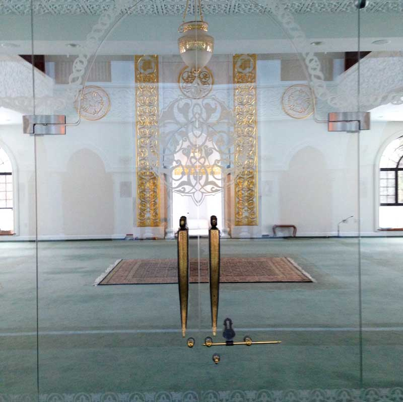Fancy Decorative Glass Mosque Door